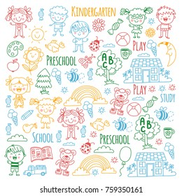 Imagination. Exploration. Study. Play. Learn. Kindergarten. Children. Kids drawing. Doodle icon. Illustration. Moon. House. Boys and girls. Preschool, school picture. Vector patterns