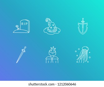 Imagination icon set and king with tombstone, medusa and rpg game. Jellyfish related imagination icon vector for web UI logo design.