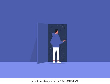 Imagination and inspiration, outer space, astrology, young male character opening a door to the unknown