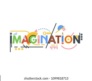 Imagination text banner. Creative idea and innovation typography. Thin and thick lines illustration. Geometric text and letters, abstract shapes. Linear modern, trendy vector banner.