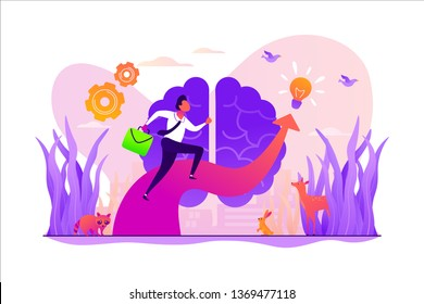Imagination and vision, creative thinking, ideas and fantasy, motivation and inspiration concept. Vector isolated concept illustration with tiny people and floral elements. Hero image for website.