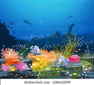Imagination-Underwater landscape - the sea and underwater world where many animals live. Coral reefs and water plants For printing, creating video or graphic design, web user interface, poster card