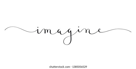 IMAGINE black brush calligraphy banner with swashes