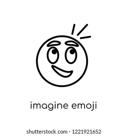 imagine emoji icon. Trendy modern flat linear vector imagine emoji icon on white background from thin line Emoji collection, outline vector illustration