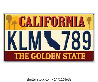 An imitation California license plate with text the golden state written on it making a great concept