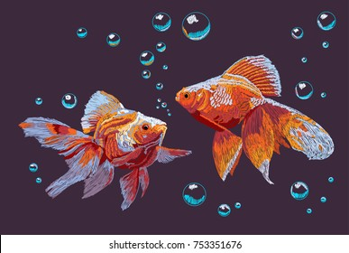 Imitation of embroidery of Chinese goldfish and bubble of water.