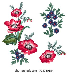 Imitation of embroidery. Isolated floral elements on white background.
