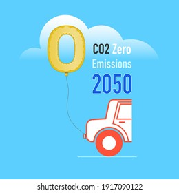 Imitation of wedding car balloon decoration represent achieving zero CO2 emissions by 2050. Vector illustration outline flat design style.