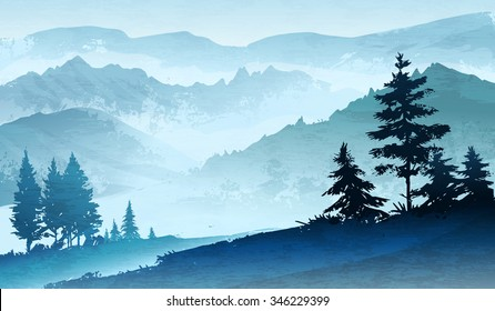 Imitations of watercolor illustration. Mountains landscape, trees, sky.