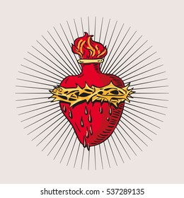 Immaculate Heart of Blessed Virgin Mary tattoo illustration design