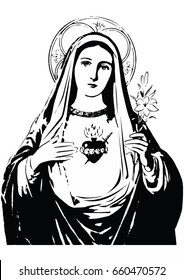 Immaculate heart of Mary vector black and white Our lady