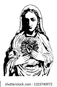 Immaculate heart of Mary virgin Mary vector