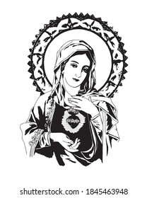 Immaculate heart of Virgin Mary catholic vector Illustration
