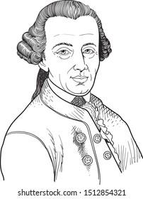 Immanuel Kant cartoon portrait, vector