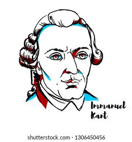 Immanuel Kant engraved vector portrait with ink contours. German philosopher who is a central figure in modern philosophy.