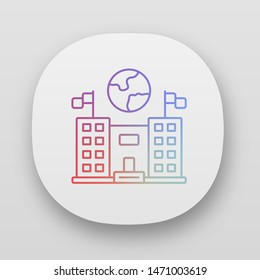 Immigration center app icon. Consulate building. UI/UX user interface. Administrative structure. Earth globe over public building. Web or mobile applications. Vector isolated illustrations