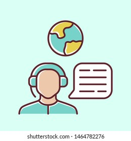 Immigration consultant blue color icon. Online support, hotline operator, Office, help desk worker, dispatcher. Travel agent. Call center manager. Trip advisor. Isolated vector illustration