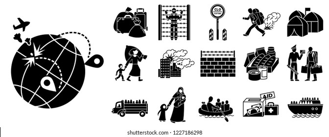 Immigration icon set. Simple set of immigration vector icons for web design on white background