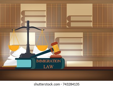 Immigration law books on a table and blurred bookshelves background with a judge's gavel , judicial and law system conceptual vector illustration.