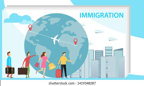 Immigration. Mini people migrate to developed countries. The concept of migration of people against the background of the Earth. Vector illustration, vector.
