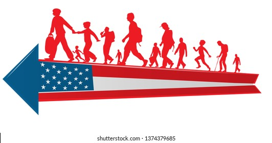 immigration people silhouette moving to  USA  arrow flag