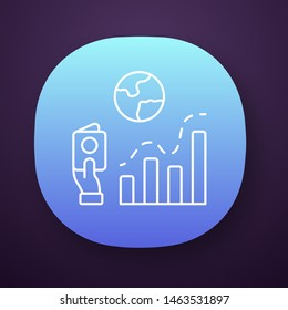 Immigration rate app icon. Business analysis, analytical research. Data representation. International migration. Bar graph. UI/UX user interface. Web, mobile application. Vector isolated illustration