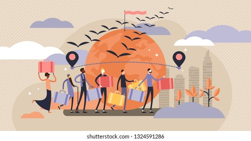 Immigration vector illustration. Flat tiny crisis escaping persons concept. International and global foreign citizen moving to better economical situation. Abroad poor social diversity travel freedom.