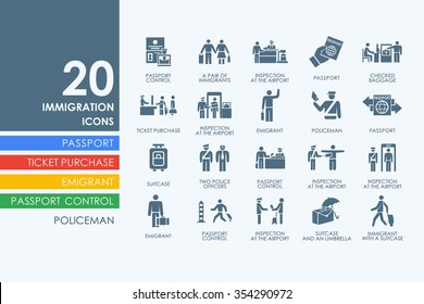 immigration vector set of modern simple icons
