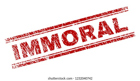 IMMORAL seal print with grunge texture. Red vector rubber print of IMMORAL text with scratched texture. Text title is placed between double parallel lines.