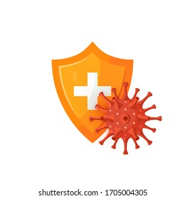 Immune defense concept. Medical shield with a spherical coronavirus. Vector illustration isolated on a white background in cartoon style. Design for infographics, web banners, posters, posts in social