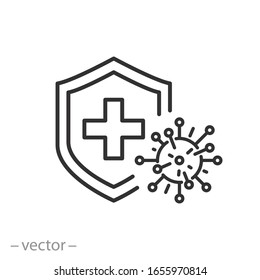 immune from flu germ icon, virus protection, hygiene shield, bacterial prevention, thin line web symbol on white background - editable stroke vector illustration eps10