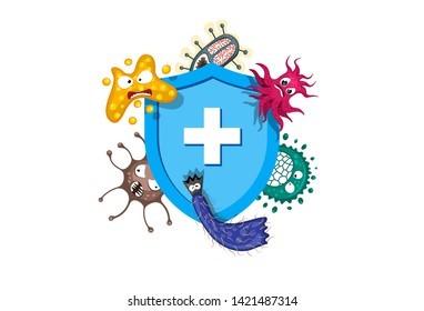 Immune system concept. Hygienic medical blue shield protecting from virus germs and bacteria. Flat vector illustration on white background