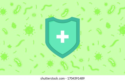 Immune system concept. Hygienic medical blue shield protecting from virus germs and bacteria flat design