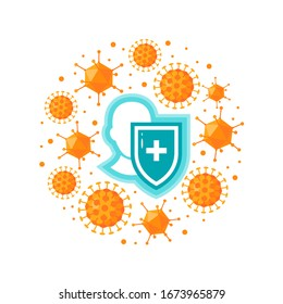 Immune system concept. Immunology round design with a medical shield and bacteria or viruses. Vector illustration isolated on a white background in flat style.