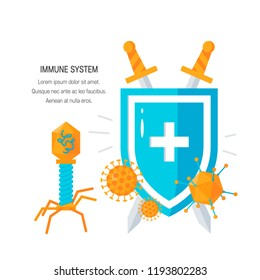 Immune system concept. Shield and viruses in front of it