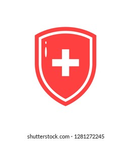 Immune system concept. Simple icon of medical shield in flat style
