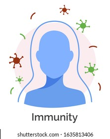 Immune system of human body. Isolated icon of protective barriers helping to get rid of infections and harmful bacteria. Immunity and antidotes resistant microbes and viruses, coronavirus attack