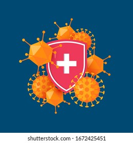 Immune system icon. Antibacterial concept with a medical shield and bacteria or virus. Vector illustration in cartoon style.