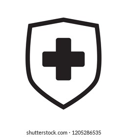 Immune system icon. Medical cross in the shield. Vector isolated.