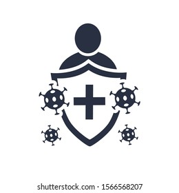 Immune system vector icon logo. Health bacteria virus protection. Medical prevention human germ. Healthy man reflect bacteria attack with shield. Boost Immunity with medicine concept illustration