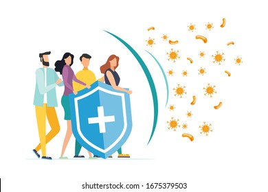 Immune system vector icon logo. Protection against bacteria health viruses. Medical prevention of human germs. A healthy mans and womans stand behind a shield and repel an attack of bacteria by the sh