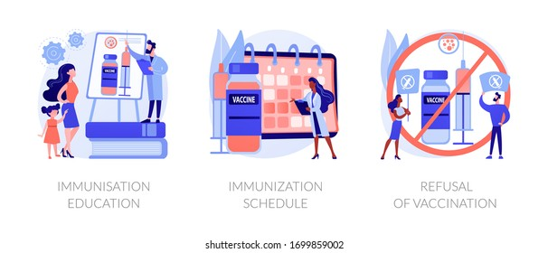 Immunisation policy and implementation abstract concept vector illustration set. Healthcare education, national immunization schedule, refusal of vaccination, allergy side effects abstract metaphor.