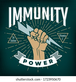 Immunity Power Inverted Concept Based on Popular Measures for Coronavirus Preventions with Hand Holding Lightning Bolt and Logo Lettering - Gold on Turquoise Background - Vector Graphic Design