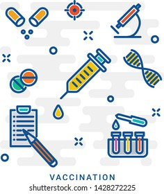 Immunization concept icon. Immune system protection. Kid vaccine. Active and passive immunisation. Vaccination idea thin line illustration. Vector isolated outline drawing. Editable stroke