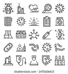 Immunization icons set. Outline set of immunization vector icons for web design isolated on white background
