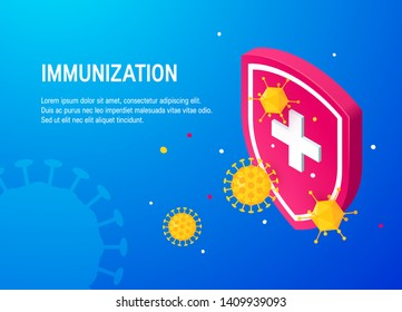 Immunization template for web sites, banners etc. Medical shield surrounded by viruses and bacterium. Modern isometric illustration.