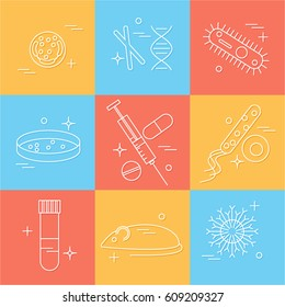 Immunology research icons set. Stock vector illustration of DNA, petri dish, virus, bacteria, mouse, blood vacutainer, syringe, antibody and human cell.