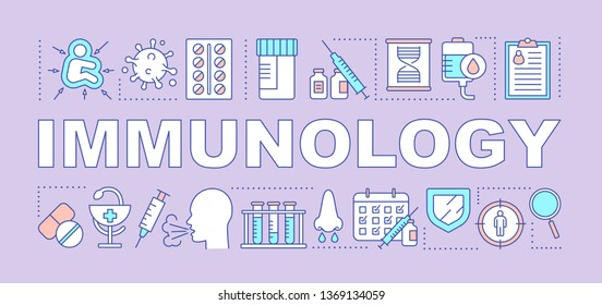 Immunology word concepts banner. Immune system diseases. Vaccination. Immunodeficiency. Presentation, website. Isolated lettering typography idea with linear icons. Vector outline illustration