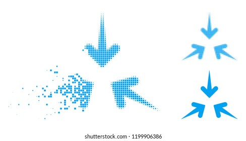 Impact arrows icon in disappearing, pixelated halftone and undamaged entire variants. Fragments are composed into vector disappearing impact arrows shape. Disappearing effect uses rectangular points.