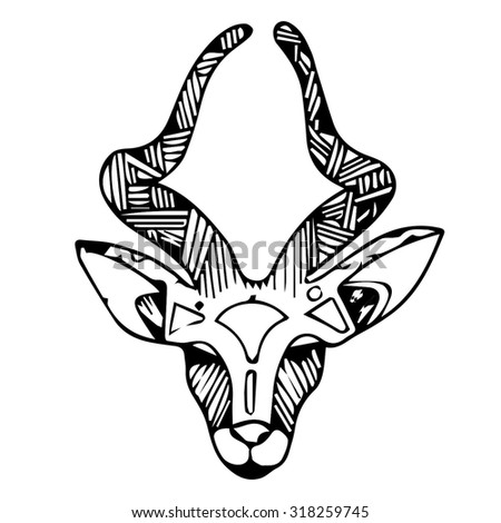 impala animal head drawing drawings art stock vector royalty free
